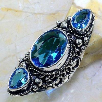 Tpz 594a bague t56 chevaliere medievale topaze bleue 12x16mm bijoux ethnique argent 925 vente achat