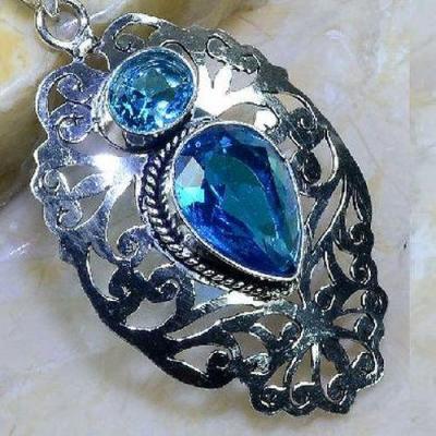 Tpz 600c pendentif pendant topaze bleue goutte poire 15x20mm bijoux argent 925 vente achat