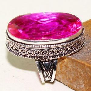 Tpz 612a bague t56 chevaliere medievale topaze rose 18x30mm bijoux argent 925 vente achat