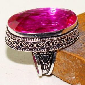 Tpz 614a bague t59 chevaliere medievale topaze rose 18x30mm bijoux argent 925 vente achat