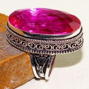 Tpz 614b bague t59 chevaliere medievale topaze rose 18x30mm bijoux argent 925 vente achat