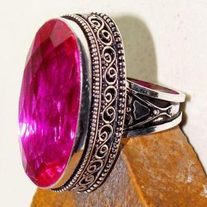 Tpz 614c bague t59 chevaliere medievale topaze rose 18x30mm bijoux argent 925 vente achat
