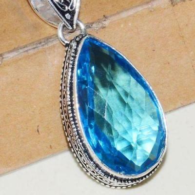 Tpz 635c pendentif pendant topaze bleue 16x28mm bijoux argent 925 vente achat