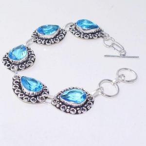 Tpz 643a bracelet 20gr topaze bleu iolite ethnique baroque bijou argent 925 vente achat