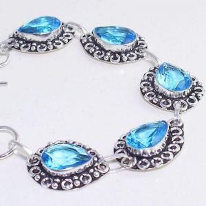 Tpz 643b bracelet 20gr topaze bleu iolite ethnique baroque bijou argent 925 vente achat