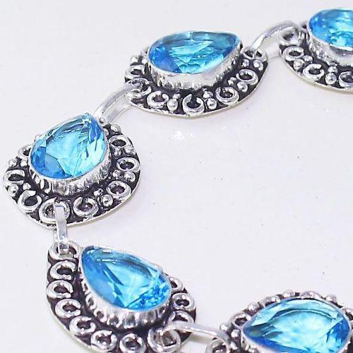 Tpz 643c bracelet 20gr topaze bleu iolite ethnique baroque bijou argent 925 vente achat