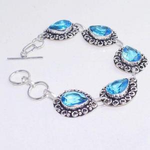 Tpz 643d bracelet 20gr topaze bleu iolite ethnique baroque bijou argent 925 vente achat