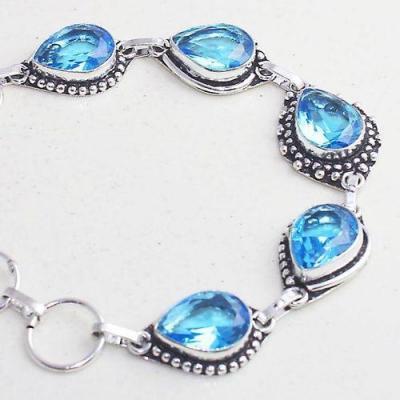 Tpz 644b bracelet 17 topaze bleu iolite ethnique baroque bijou argent 925 vente achat