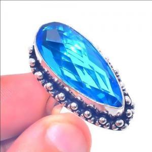 Tpz 655a bague chevaliere t56 12gr topaze bleu 12x28mm ethnique bijou argent 925 vente achat