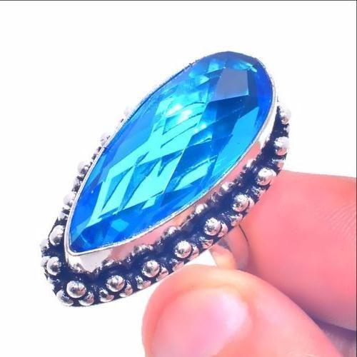 Tpz 655b bague chevaliere t56 12gr topaze bleu 12x28mm ethnique bijou argent 925 vente achat