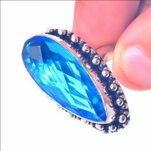 Tpz 655c bague chevaliere t56 12gr topaze bleu 12x28mm ethnique bijou argent 925 vente achat