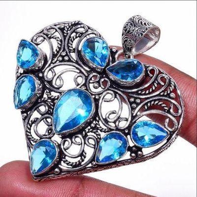 Tpz 661b pendentif pendant coeur 20gr topaze bleu 8x10mm ethnique bijou argent 925 vente achat