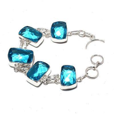 Tpz 666a bracelet 28gr topaze bleu suisse 15x20mm ethnique baroque bijou argent 925 vente achat