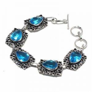 Tpz 681a bracelet 22gr topaze bleu suisse 15x10mm ethnique baroque bijou argent 925 vente achat