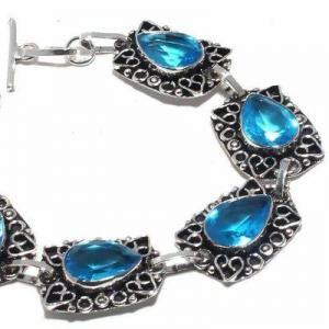 Tpz 681b bracelet 22gr topaze bleu suisse 15x10mm ethnique baroque bijou argent 925 vente achat