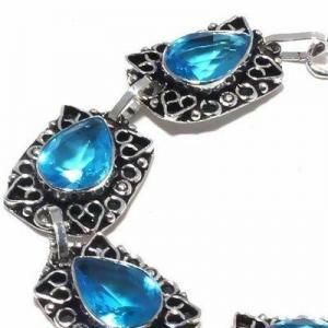 Tpz 681c bracelet 22gr topaze bleu suisse 15x10mm ethnique baroque bijou argent 925 vente achat