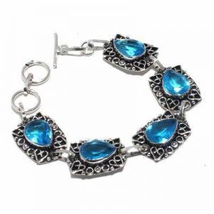 Tpz 681d bracelet 22gr topaze bleu suisse 15x10mm ethnique baroque bijou argent 925 vente achat