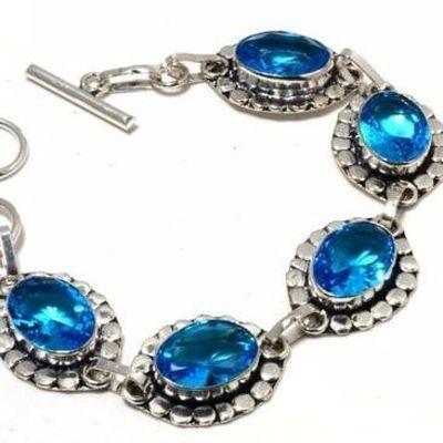 Tpz 682b bracelet 17gr topaze bleu suisse 15x10mm ethnique baroque bijou argent 925 vente achat