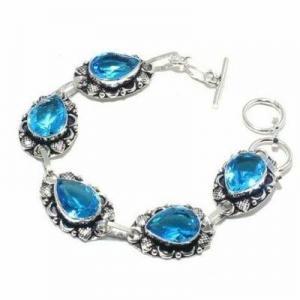 Tpz 683a bracelet 20gr topaze bleu suisse 15x10mm ethnique baroque bijou argent 925 vente achat