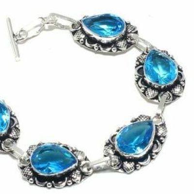 Tpz 683b bracelet 20gr topaze bleu suisse 15x10mm ethnique baroque bijou argent 925 vente achat