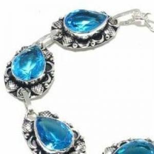 Tpz 683c bracelet 20gr topaze bleu suisse 15x10mm ethnique baroque bijou argent 925 vente achat