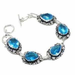 Tpz 683d bracelet 20gr topaze bleu suisse 15x10mm ethnique baroque bijou argent 925 vente achat