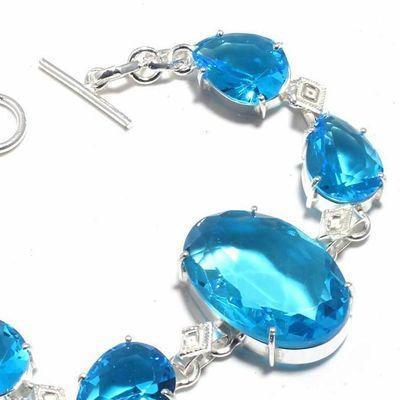 Tpz 684b bracelet 22gr topaze bleu suisse 20x30mm ethnique baroque bijou argent 925 vente achat