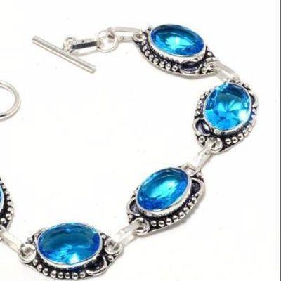 Tpz 686b bracelet 16gr topaze bleu suisse 15x10mm ethnique baroque bijou argent 925 vente achat