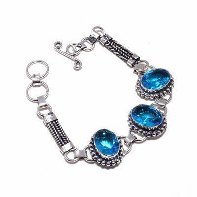 Tpz 687d bracelet 21gr topaze bleu suisse 15x10mm ethnique baroque bijou argent 925 vente achat