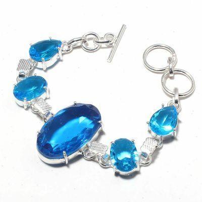 Tpz 688a bracelet 19gr topaze bleu suisse 20x30mm ethnique baroque bijou argent 925 vente achat
