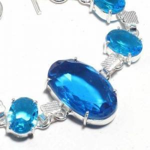Tpz 688b bracelet 19gr topaze bleu suisse 20x30mm ethnique baroque bijou argent 925 vente achat