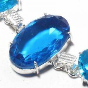 Tpz 688c bracelet 19gr topaze bleu suisse 20x30mm ethnique baroque bijou argent 925 vente achat