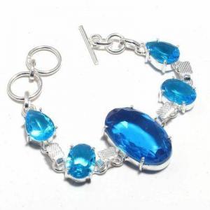 Tpz 688d bracelet 19gr topaze bleu suisse 20x30mm ethnique baroque bijou argent 925 vente achat