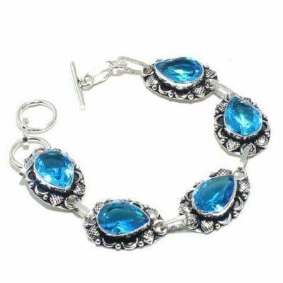 Tpz 697a bracelet 28gr topaze bleu suisse 15x10mm ethnique baroque bijou argent 925 vente achat