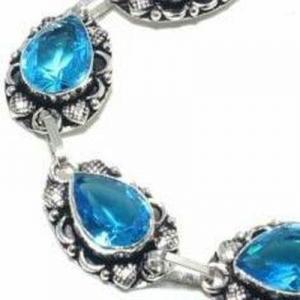 Tpz 697c bracelet 28gr topaze bleu suisse 15x10mm ethnique baroque bijou argent 925 vente achat