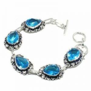 Tpz 697d bracelet 28gr topaze bleu suisse 15x10mm ethnique baroque bijou argent 925 vente achat