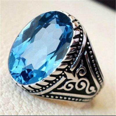 Tpz 703a bague chevaliere 7gr t58 topaze bleu 14x18mm ethnique bijou argent 925 vente achat