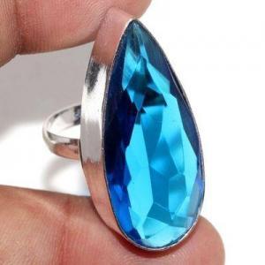 Tpz 707a bague chevaliere 10gr t60 topaze bleu 15x35mm ethnique bijou argent 925 vente achat