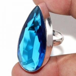 Tpz 707b bague chevaliere 10gr t60 topaze bleu 15x35mm ethnique bijou argent 925 vente achat