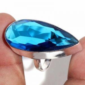Tpz 707c bague chevaliere 10gr t60 topaze bleu 15x35mm ethnique bijou argent 925 vente achat