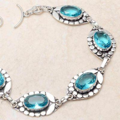 Tpz 724b bracelet 20gr topaze bleu suisse 15x10mm ethnique baroque bijou argent 925 vente achat
