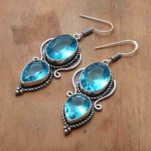 Tpz 740b boucles oreilles pendants 12gr 12x16mm paire topaze bleu suisse argent 925 vente achat
