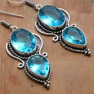 Tpz 740c boucles oreilles pendants 12gr 12x16mm paire topaze bleu suisse argent 925 vente achat