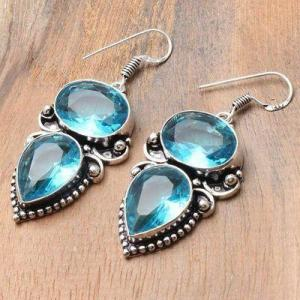 Tpz 741b boucles oreilles pendants 17gr 12x16mm paire topaze bleu suisse argent 925 vente achat
