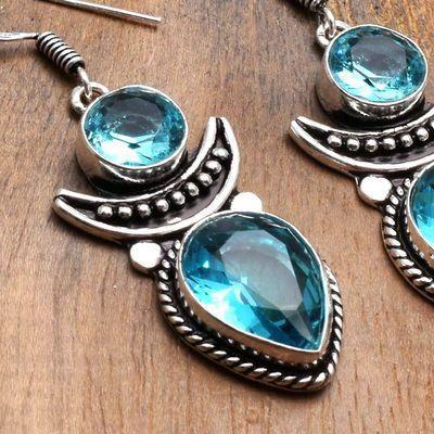 Tpz 742c boucles oreilles pendants 12gr 12x16mm paire topaze bleu suisse argent 925 vente achat