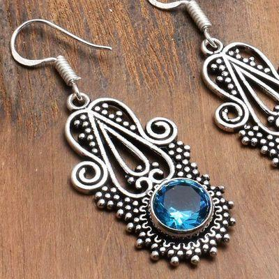 Tpz 744c boucles oreilles pendants 9gr 10mm paire topaze bleu suisse argent 925 vente achat