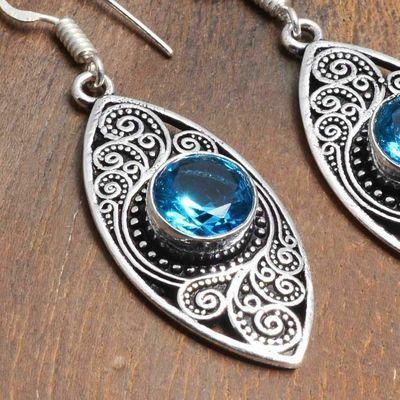 Tpz 745c boucles oreilles pendants 10gr 10mm paire topaze bleu suisse argent 925 vente achat