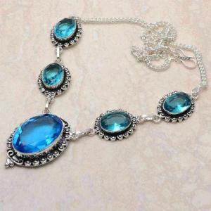 Tpz 746d collier sautoir parure 30gr pendant 20x30mm topaze bleu suisse argent 925 vente achat