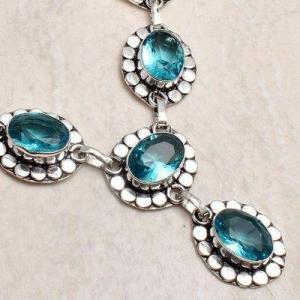 Tpz 747d collier sautoir parure 26gr pendant 10x15 topaze bleu suisse argent 925 vente achat