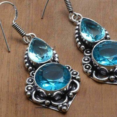 Tpz 752c boucles oreilles pendants 12gr 12x16mm paire topaze bleu suisse argent 925 vente achat